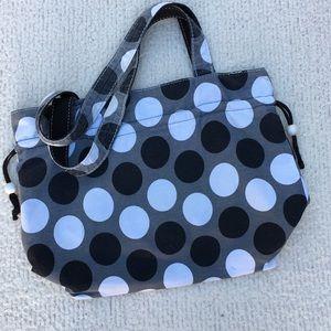 """Thirty one polka dot bag, 16"""" wide, 12"""" high."""